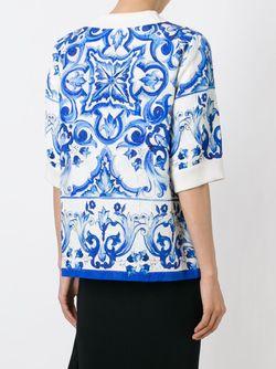 Парчовый Топ С Принтом Majolica Dolce & Gabbana                                                                                                              белый цвет