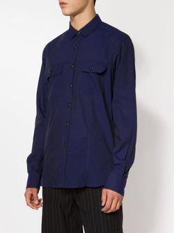 Рубашка С Нагрудными Карманами Ann Demeulemeester                                                                                                              синий цвет
