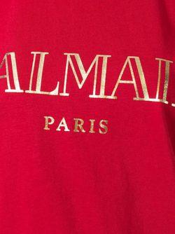 Футболка С Логотипом Balmain                                                                                                              красный цвет