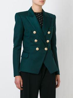 Приталенный Пиджак Balmain                                                                                                              зелёный цвет