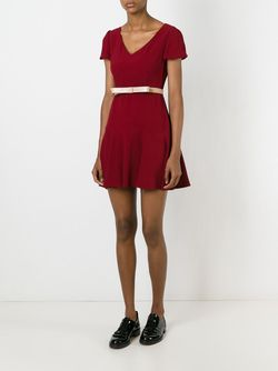 Расклешенное Платье С Короткими Рукавами Red Valentino                                                                                                              красный цвет