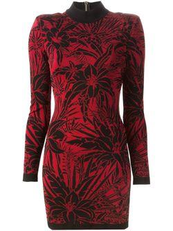 Платье С Цветочным Узором Balmain                                                                                                              красный цвет