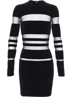 Sheer Stripe Dress Balmain                                                                                                              чёрный цвет