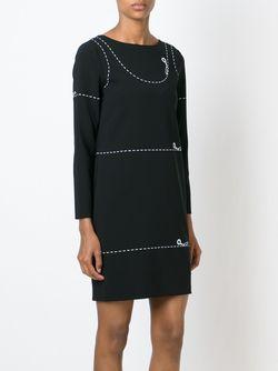 Черное Платье С Принтом Ножниц Moschino                                                                                                              черный цвет