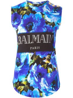 Топ С Цветочным Принтом Balmain                                                                                                              синий цвет