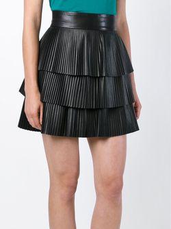 Плиссированная Мини-Юбка Balmain                                                                                                              черный цвет
