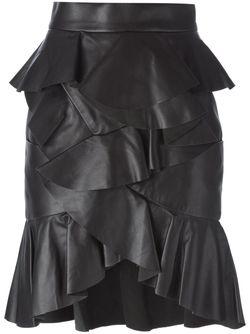 Юбка С Оборками Balmain                                                                                                              чёрный цвет
