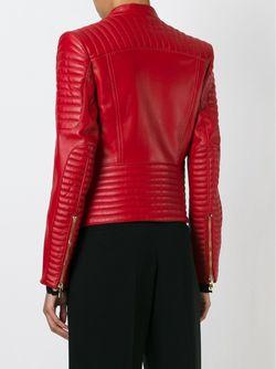 Приталенная Байкерская Куртка Balmain                                                                                                              красный цвет