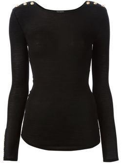 Облегающий Свитер С Декоративными Пуговицами Balmain                                                                                                              черный цвет