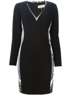 Платье C Панельным Дизайном И V-Образным Вырезом Emilio Pucci                                                                                                              черный цвет