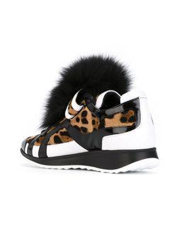 Кроссовки С Леопардовым Принтом И Помпонами Pierre Hardy                                                                                                              черный цвет