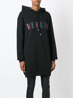 Удлиненная Толстовка С Капюшоном И Логотипом Versus                                                                                                              черный цвет