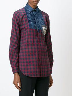 Рубашка С Джинсовой Вставкой Ricamo Dsquared2                                                                                                              красный цвет