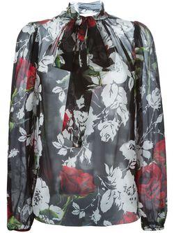 Блузка С Принтом Роз Dolce & Gabbana                                                                                                              чёрный цвет