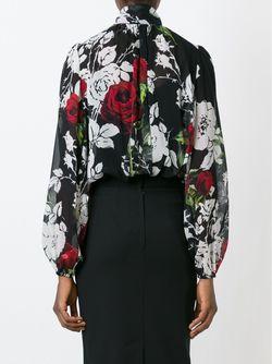 Блузка С Принтом Роз Dolce & Gabbana                                                                                                              черный цвет