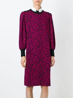 Трикотажное Платье С Цветочным Принтом Saint Laurent                                                                                                              розовый цвет