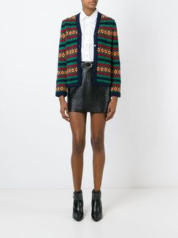 Intarsia Print Cardigan Saint Laurent                                                                                                              синий цвет