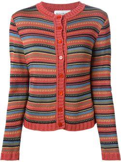 Трикотажный Полосатый Кардиган Saint Laurent                                                                                                              коричневый цвет
