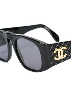 Quilted Detailing Sunglasses Chanel Vintage                                                                                                              черный цвет