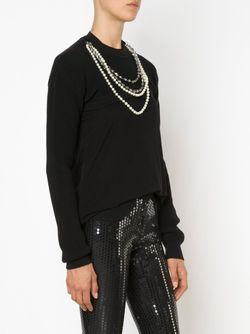 Necklace Embellished Cropped Sweater Vera Wang                                                                                                              чёрный цвет