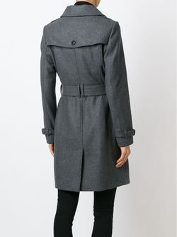 Однобортное Пальто С Поясом Burberry Brit                                                                                                              серый цвет