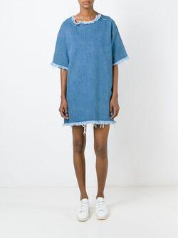 Джинсовое Платье-Футболка С Необработанными Краями Marques Almeida                                                                                                              синий цвет