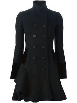Двубортное Пальто С Волнистым Подолом Alexander McQueen                                                                                                              черный цвет