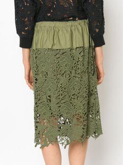 Юбка С Цветочной Вышивкой MIYAO                                                                                                              зелёный цвет