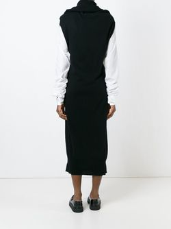 Draped Collar Tube Knit Dress MM6 by Maison Margiela                                                                                                              чёрный цвет