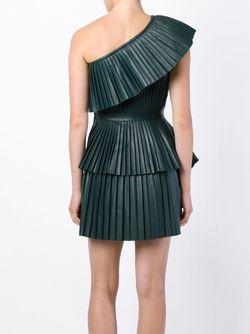 Плиссированное Платье На Одно Плечо Balmain                                                                                                              зелёный цвет