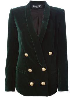 Двубортный Бархатный Блейзер Balmain                                                                                                              зелёный цвет