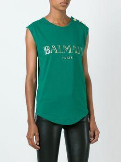 Майка С Принтом Логотипа Balmain                                                                                                              зелёный цвет
