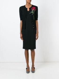 Кардиган С Аппликацией Розы Dolce & Gabbana                                                                                                              черный цвет