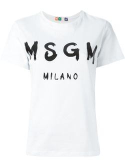 Футболка С Принтом Логотипа MSGM                                                                                                              None цвет