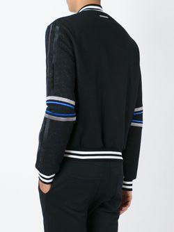 Куртка-Бомбер С Контрастными Деталями Les Hommes                                                                                                              чёрный цвет