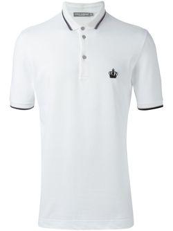 Футболка-Поло С Контрастной Окантовкой Dolce & Gabbana                                                                                                              белый цвет