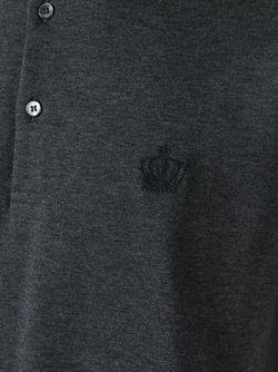 Футболка-Поло С Вышитой Короной Dolce & Gabbana                                                                                                              серый цвет