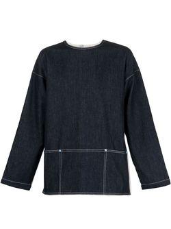 Джинсовая Рубашка С Панельным Дизайном WALTER VAN BEIRENDONCK VINTAGE                                                                                                              синий цвет
