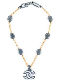 Ожерелье С Подвеской-Логотипом Chanel Vintage                                                                                                              серебристый цвет