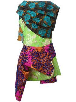 Парчовое Платье С Цветочным Узором Marques Almeida                                                                                                              зелёный цвет