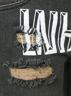 Рваные Джинсы С Принтом Логотипа OFF-WHITE                                                                                                              чёрный цвет