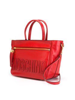 Сумка-Тоут С Простроченным Логотипом Moschino                                                                                                              красный цвет