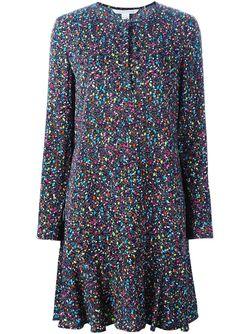 Платье В Крапинку С Длинными Рукавами Diane Von Furstenberg                                                                                                              черный цвет