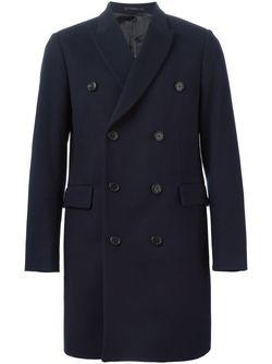 Двубортное Пальто PAUL SMITH LONDON                                                                                                              синий цвет