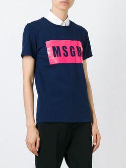Футболка С Принтом Логотипа MSGM                                                                                                              синий цвет
