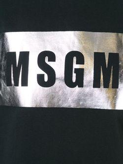 Футболка С Принтом Логотипа MSGM                                                                                                              чёрный цвет