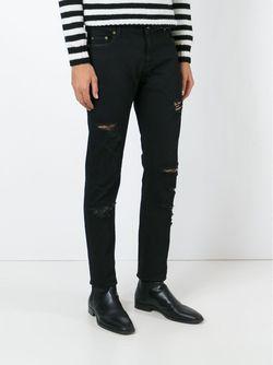 Джинсы Кроя Скинни С Рваными Деталями Saint Laurent                                                                                                              чёрный цвет