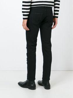 Джинсы Кроя Скинни С Рваными Деталями Saint Laurent                                                                                                              черный цвет