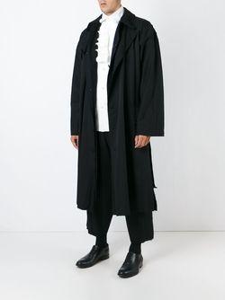 Объемное Пальто С Поясом Yohji Yamamoto                                                                                                              чёрный цвет