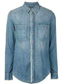 Джинсовая Рубашка С Необработанными Краями Mother                                                                                                              синий цвет